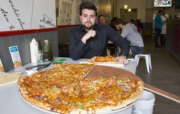 Our Mark is defeated by Pinheads' Pizza Challenge. Photo: Jason Kennedy