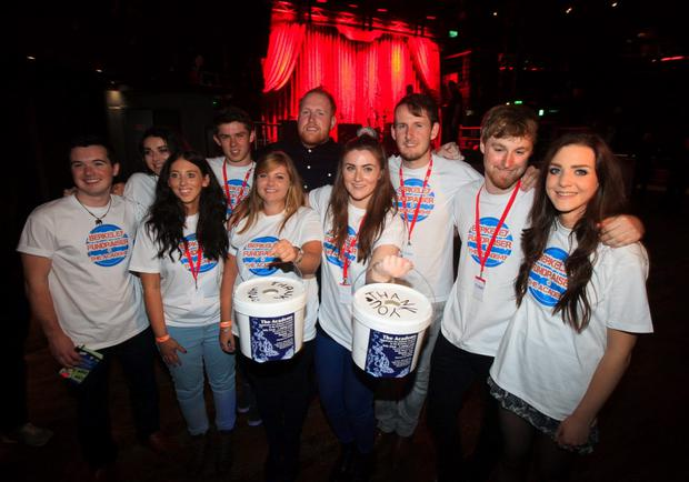 Gavin James with Berkeley fundraisers during a fundraising concert for survivors of the Berkeley balcony collapse and their families at the Academy, Abbey Street, Dublin. Photo: Gareth Chaney Collins