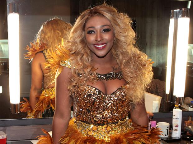 Three-time Brit nominee and X-Factor winner, Alexandra Burke pictured in her dressing room prior to taking to the stage for the Vip opening night of the musical