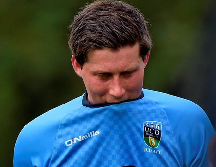 UCD's Tomas Boyle dejected after 5-1 defeat at home to Slovan Bratislava in the UEFA Europa League, Second Qualifying Round, Second Leg, UCD v Slovan Bratislava.
