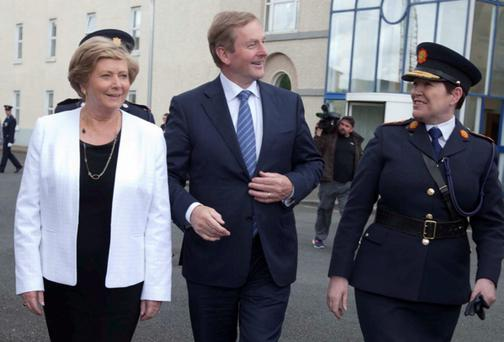 Taoiseach Enda Kenny with Justice Minister Frances Fitzgerald and Garda Commissioner Noirin O'Sullivan