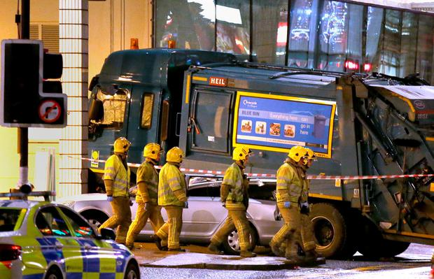 The scene in Glasgow's George Square after the bin lorry crashed into a group of pedestrians. Photo: PA