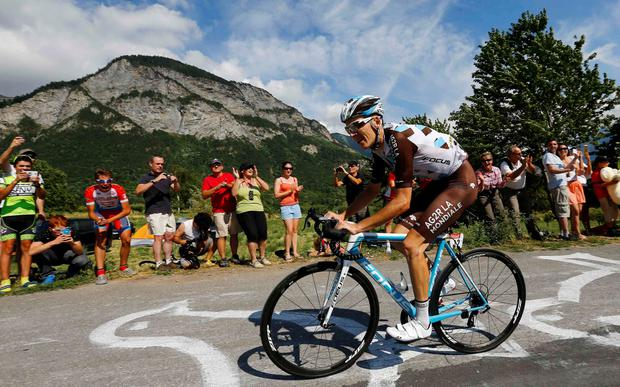Romain Bardet in action during yesterday's 18th stage of the Tour de France