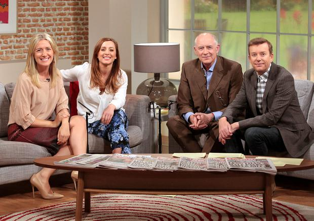 Ciara Doherty pictured at the TV3 Sony HD Studio this morning with Sinead Desmond,Mark Cagney and Alan Hughes , where she was welcomed on air for the first time as Ireland AM's new reporter