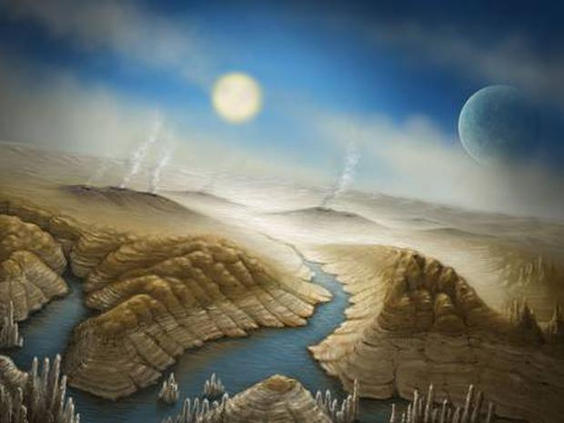 This artist's impression shows what the surface of Kepler 452b could look like, with active volcanoes and liquid water