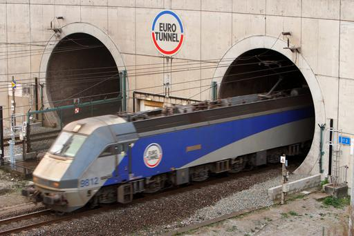 Train leaving the Euro Tunnel at Coquelles in France
