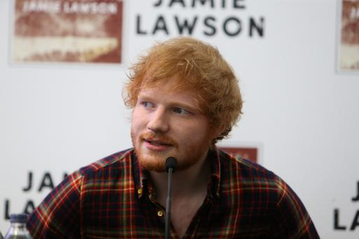 Ed Sheeran in Dublin this afternoon. Photo: Steve Humphreys