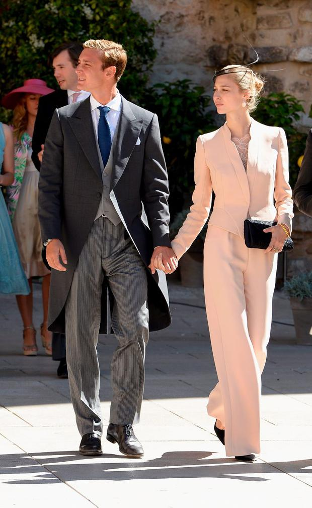 2013, France: Amal Clooney who? Beatrice Borromeo brought the nude trouser suit to the next level at the Religious Wedding Of Prince Felix Of Luxembourg and Claire Lademacher at the Basilique Sainte Marie-Madeleine. A minimal fascinator and matching black accessories tops off a perfect wedding guest look.