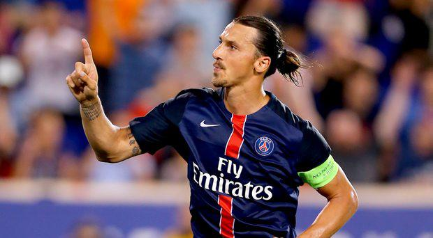 Zlatan Ibrahimovic #10 of Paris Saint-Germain celebrates his goal in the second half against AFC Fiorentina during the International Champions Cup at Red Bull Arena on July 21, 2015 in Harrison, New Jersey.Paris Saint-Germain defeated ACF Fiorentina 4-2