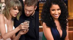 Taylor Swift and Calvin Harris (left) and Nicki Minaj (right)