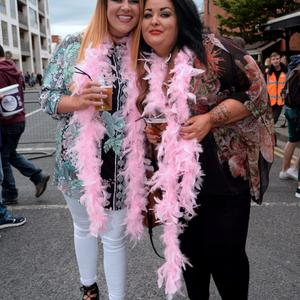 24 Jul 2015; Kelly Lyons, left, and Natasha Halpin, from Ballyfermot, on their way to the Ed Sheeran concert in Croke Park, Dublin. Picture: Caroline Quinn
