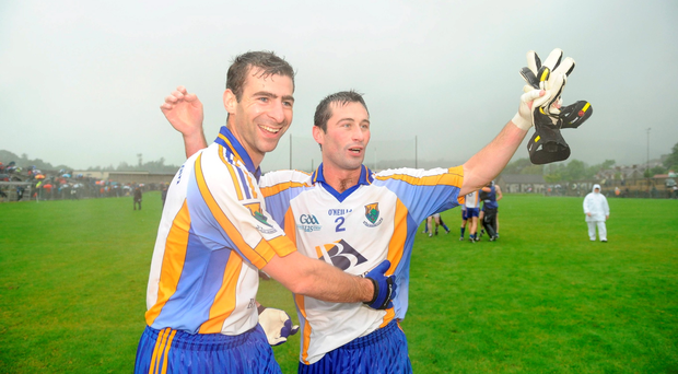 Wicklow duo Tony Hannon, left, and Ciaran Hyland celebrate Wicklow's win over Cavan during their remarkable qualifier run of 2009