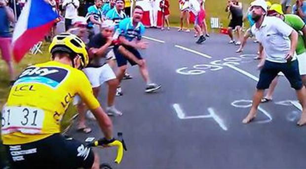 Tour de France leader was spat on by a spectator today