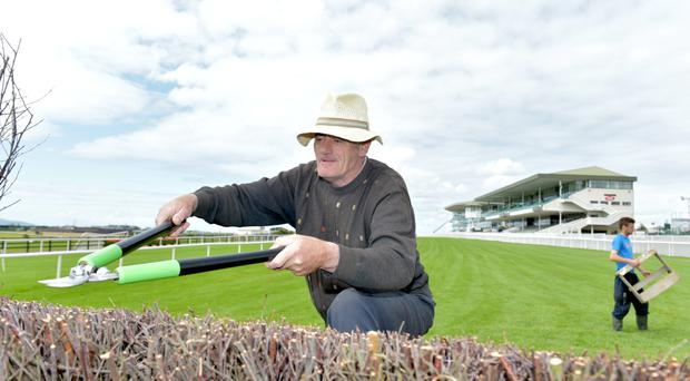 Mike Flaherty hard at work as the last-minute preparations are completed at Ballybrit ahead of the Galway Festival next week