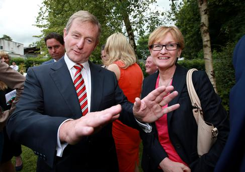 Taoiseach Enda Kenny and MEP Mairead McGuinness during a visit to Slane, Co Meath, where Fine Gael launched their 'Standing up for Rural Ireland' campaign at the Conyngham Arms Hotel