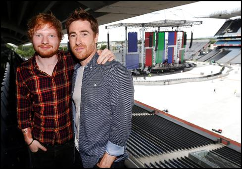 Ed Sheeran with support act Jamie Lawson at Croke Park