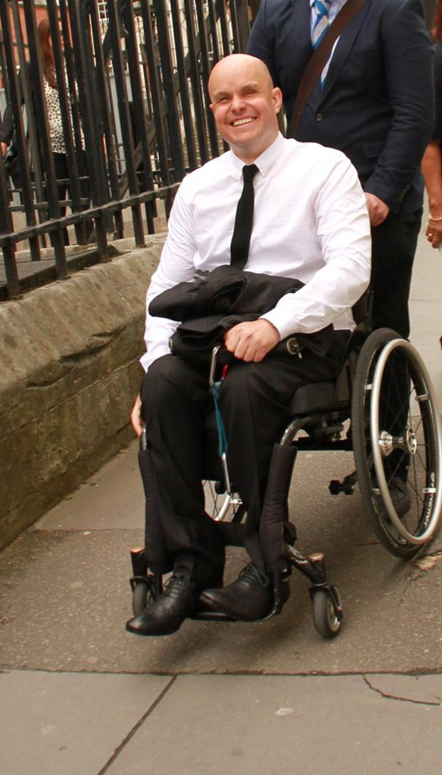 Mark Pollock outside the Royal Courts of Justice in London