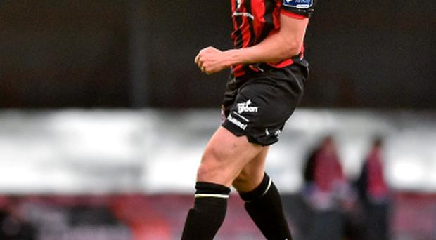 Robbie Creevy, Bohemians, celebrates scoring his side's fourth goal during the SSE Airtricity League Premier Division, Bohemians v Derry City