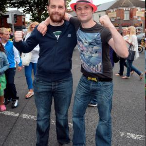 24 Jul 2015; Kevin Sheridan, left, and Alan Egan, from Athlone, on their way to the Ed Sheeran concert in Croke Park, Dublin. Picture: Caroline Quinn