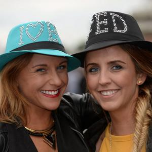 24 Jul 2015; Olivia Boland, left, and Erin Ralph, from Dundalk, Co. Louth, on their way to the Ed Sheeran concert in Croke Park, Dublin. Picture: Caroline Quinn