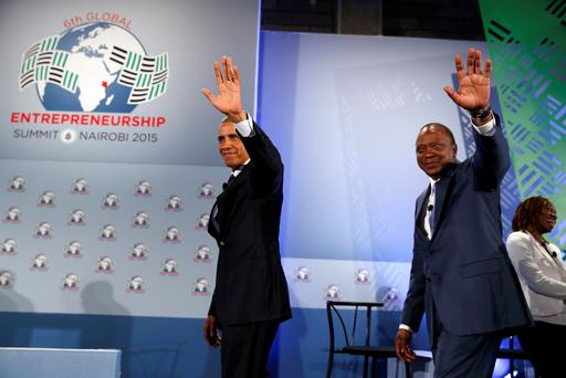 U.S. President Barack Obama (L) and Kenya's President Uhuru Kenyatta (R) depart the stage after speaking at the Global Entrepreneurship Summit at the United Nations compound in Nairobi July 25, 2015. REUTERS/Jonathan Ernst