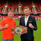 WBO world champion Andy Lee and Billy Joe Saunders after a press conference ahead of 'The Showdown' at Thomond Park on September 19th. Thomond Park, Limerick. Picture credit: Diarmuid Greene / SPORTSFILE