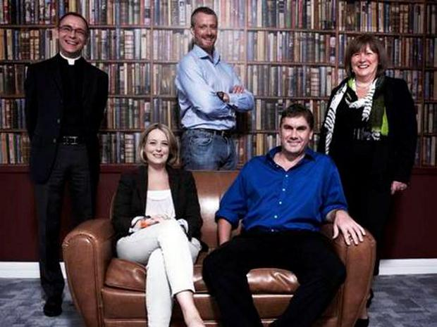 Married at First Sight's Rev Nick Devenish, Dr Mark Coulsen and psychologist Jo Coker. Sitting: Anthropologists Dr Anna Machin and Dr Andrew Irving. Channel 4