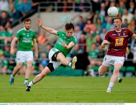 Tomas Corrigan, Fermanagh scoring a long range point in the first half. GAA Football All-Ireland Senior Championship, Round 4A, Fermanagh v Westmeath. Kingspan Breffni Park, Cavan. Picture credit: Oliver McVeigh / SPORTSFILE