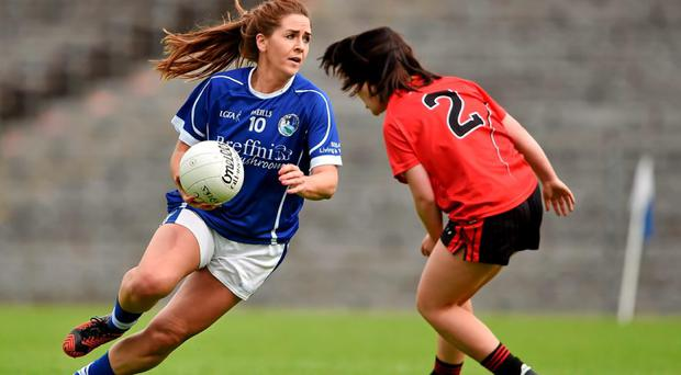 Roisin O'Keeffe, Cavan, in action against Aimee Greene, Down. TG4 Ladies Football All-Ireland Senior Championship Qualifier, Round 1, Cavan v Down. St Tiernach's Park, Clones, Co. Monaghan. Picture credit: Brendan Moran / SPORTSFILE