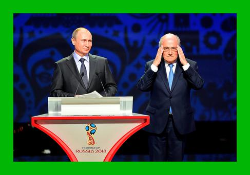 Russia president Vladimir Putin and FIFA counterpart Sepp Blatter present a united front at the World Cup qualifying draw in St Petersburg