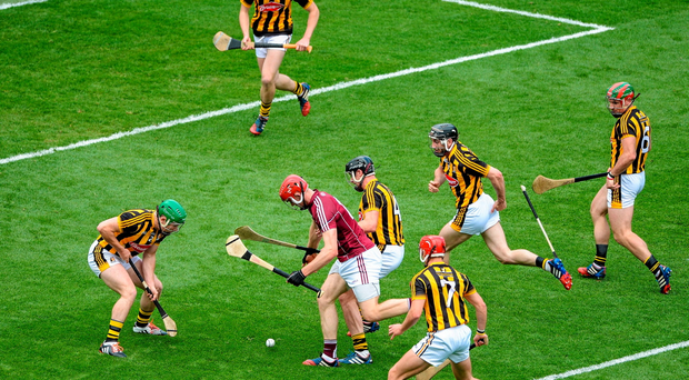 Galway's Jonathan Glynn is crowded out by the Kilkenny defence — similar scenes have dominated this year's hurling championship