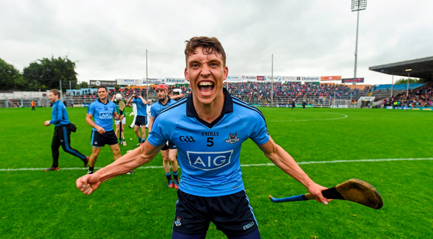 Chris Crummey celebrates Dublin's qualifier victory over Limerick, a result that has transformed the side's season after the chastening defeat to Galway