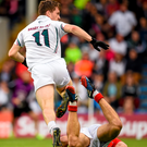 Niall Kelly watches as his shot finds the target for Kildare's first goal against Cork last night