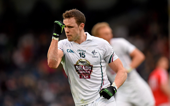 Kildare's Cathal McNally celebrates a score against Cork in Thurles last night