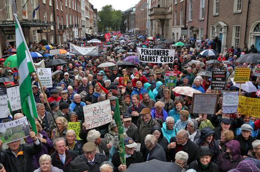 POWERFUL LOBBY: Pensioners came out in force to protest outside the Dail when Budget cuts were proposed in 2013. Photo: Colin Keegan