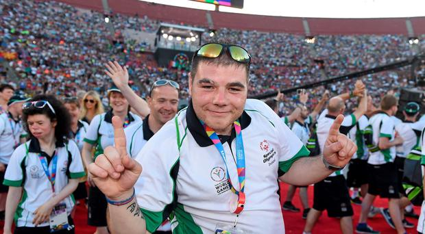 24 July 2015; Team Ireland's Robert Byrne, a member of Bray Lakers Special Olympics Club, from Monasterevin, Co Kildare, during the opening ceremony of the Special Olympics World Summer Games. LA Memorial Coliseum, Los Angeles, United States. Picture credit: Ray McManus / SPORTSFILE