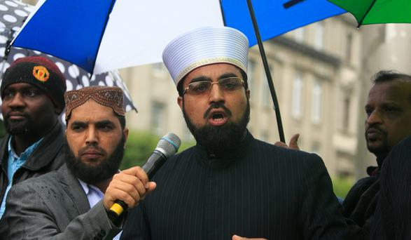 Shaykh Dr Umar al-Qadri during a Not in Our Name protest against Islamic State (IS) on O' Connell Street, Dublin. Photo: Gareth Chaney Collins