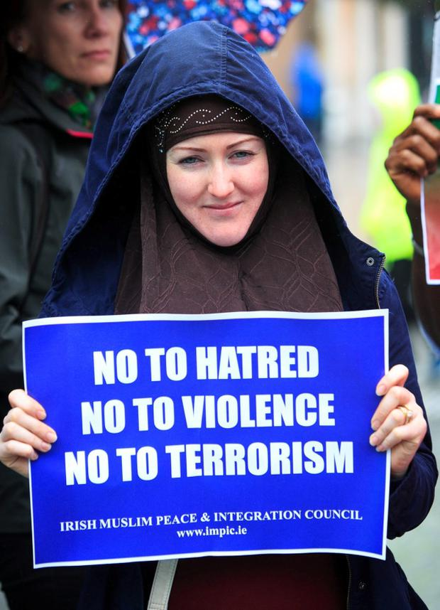 Lisa Moran from Phibsboro during a Not in Our Name protest against Islamic State (IS) on O' Connell Street, Dublin. Photo: Gareth Chaney Collins