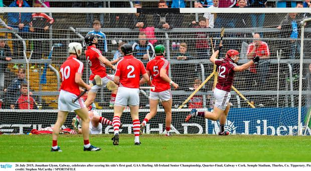 Jonathan Glynn, Galway, celebrates after scoring his side's first goal. GAA Hurling All-Ireland Senior Championship, Quarter-Final, Galway v Cork. Semple Stadium, Thurles, Co. Tipperary. Picture credit: Stephen McCarthy / SPORTSFILE