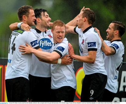 Richie Towell, second from left, Dundalk, celebrate's after scoring his side's first goal with team-mates