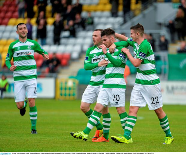 Brandon Miele, Shamrock Rovers, celebrates his goal with team mates. SSE Airtricity League, Premier Division, Shamrock Rovers v Limerick. Tallaght Stadium, Tallaght, Co. Dublin. Picture credit: Sam Barnes / SPORTSFILE