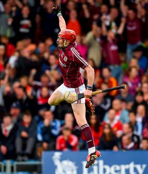 Conor Whelan celebrates after scoring his side's second goal during Galway's victory over Cork