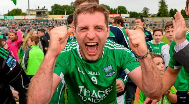 Fermanagh's Richard O'Callaghan celebrates after the qualifier victory over Westmeath
