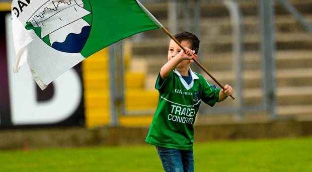 Three year old Fermanagh supporter Finn McCallion flying his team's flag after the game