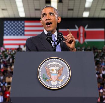 President Barack Obama delivers a speech at Safaricom Indoor Arena in Nairobi