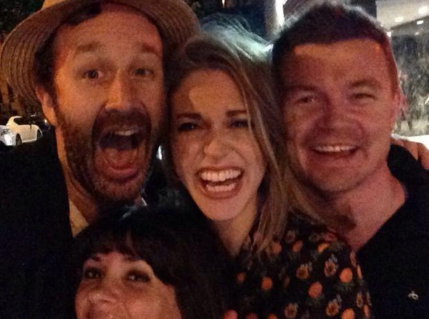 (L to R) Chris O'Dowd, Amy Huberman, Brian O'Driscoll and (front) Dawn O'Porter