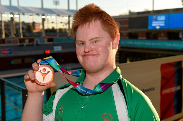 Team Irelands Gary McEnroe, a member of St John of God Menni Services, from Tallaght, Dublin, with his Bronze Medal