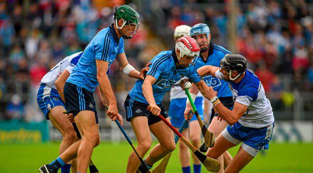 26 July 2015; Cian O'Callaghan, Dublin, is tackled by Maurice Shanahan, Waterford. GAA Hurling All-Ireland Senior Championship, Quarter-Final, Dublin v Waterford. Semple Stadium, Thurles, Co. Tipperary. Picture credit: Stephen McCarthy / SPORTSFILE