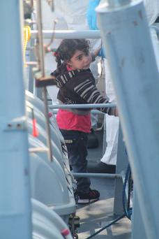 A little girl aboard the LÉ Niamh