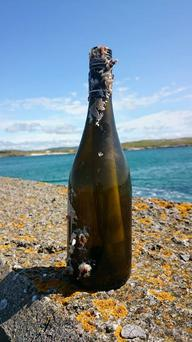 The bottle travelled almost 3,000 miles from the US to Ireland Photo: Rory Golden